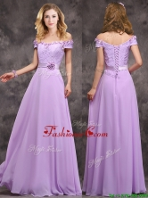 2016 Latest Off The Shoulder Long Prom Dress with Hand Made Flowers BMT0170BFOR