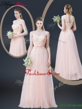 2016 Lovely Empire Bateau Prom Dresses with Appliques and Bowknot YCPD019FOR