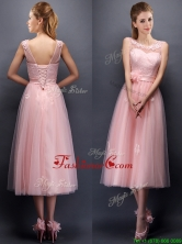 2016 Lovely Hand Made Flowers and Applique Scoop Prom Dress in Baby Pink BMT097B-1FOR