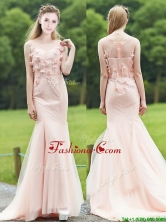 2016 Luxurious See Through Light Pink Mermaid Prom Dress with Brush Train BMT0195FOR