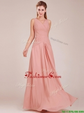 2016 Modest Ruched Decorated Bodice Peach Prom Dress with V Neck BMT0166BFOR