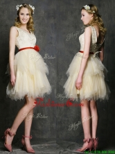 2016 Most Popular V Neck Short Prom  Dress with Belt and Ruffled Layers BMT0105CFOR