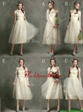 2016 New Arrivals Tea Length Tulle Prom Dress in Champagne BMT097FOR