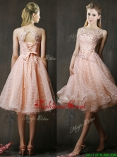 2016 See Through Beaded and Applique Peach Prom Dress with Polka Dot BMT0190CFOR