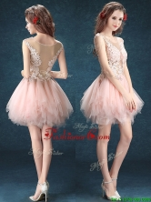 2016 See Through Scoop Baby Pink Prom Dress with Appliques and Ruffles BMT0114FOR