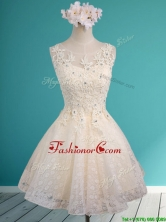 2016 See Through Scoop Short Prom Dress with Beading and Appliques BMT0120BFOR