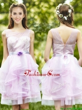 2016 See Through Scoop Short Prom  Dress with Sashes and Ruffles BMT0101BFOR