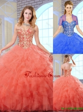 2016 Summer  Perfect Sweetheart Quinceanera Gowns with Beading and Ruffles SJQDDT162002-1FOR