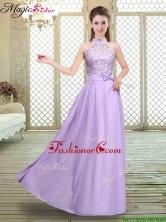 2016 Sweet High Neck Lace Lavender Prom Dresses BMT066AFOR