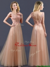 2016 Top Selling V Neck Long Prom Dress with Appliques and Beading BMT0135AFOR