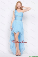 Affordable One Shoulder Beading High Low Prom Dresses in Baby Blue DBEE535FOR