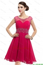 Beautiful Mini Length Scoop Hot Pink Prom Dresses with Cap Sleeves DBEE095FOR