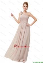 Beautiful Ruched Champagne Prom Dresses with One Shoulder DBEE008FOR