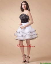 Beautiful Sequined White and Black Prom Dresses with Mini Length DBEE065FOR