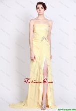 Beautiful Strapless Beaded and High Slit Prom Dresses in Yellow DBEE030FOR