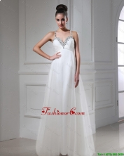 Best Selling Straps Beaded Tulle Prom Dresses in White DBEE520FOR