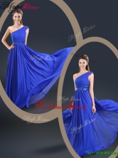 Cheap 2016 Fall One Shoulder Blue Prom Dresses with Belt YCPD034FOR