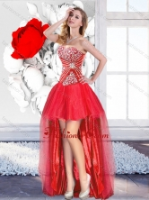 Classical Red High Low 2016 Prom Gowns with A Line SJQDDT126004FOR