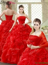 Classical Red Quinceanera Gowns with Beading and Ruffles YCQD004FOR