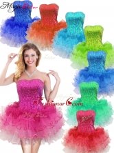 Colorful Strapless Short Prom Dress with Sequins and Ruffles SWPD008FBFOR