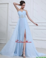 Customize Sweetheart Appliques and Beading Prom Dresses in Light Blue DBEE538FOR