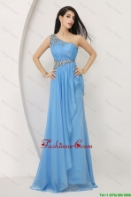 Discount Beaded Baby Blue Prom Dresses with One Shoulder DBEE072FOR