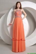 Elegant Beaded Empire Orange Prom Dresses with Halter Top DBEE356FOR