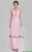 Elegant Empire Off The Shoulder Cap Sleeves Pink Prom Dresses with Beading DBEE013FOR