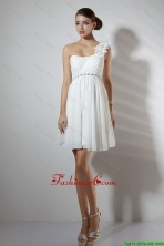 Elegant Empire One Shoulder Short Prom Dresses in White DBEE103FOR