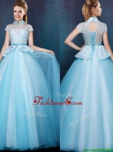 Elegant High Neck Cap Sleeves Prom Dress with Bowknot and Lace BMT090FOR