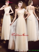 Elegant One Shoulder Prom Dresses with Appliques and Beading YCPD038FOR