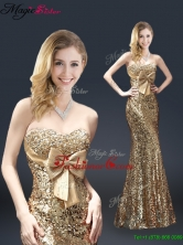 Fall Column Sequins Prom Dresses with Bowknot in Gold YCPD016FOR