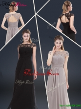 Fall Elegant Empire Cap Sleeves Beading and Ruching Prom Dresses YCPD045FOR