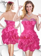 Fashionable Hot Pink Taffeta Dama Dress with Beading and Bubles SWPD003FBFOR