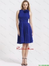 Fashionable Short Royal Blue Prom Dresses with Hand Made Flowers DBEE183FOR