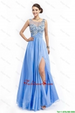 Gorgeous Brush Train Prom Dresses with Appliques and High Slit DBEE628FOR