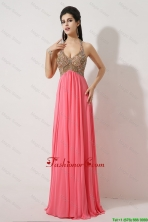 Gorgeous Halter Top Brush Train Prom Dresses in Watermelon Red DBEE369FOR