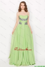 Hot Sale Strapless Brush Train Prom Dresses in Apple Green DBEE081FOR