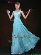 Low price Empire V Neck Prom Dresses with Belt and Lace BMT069CFOR