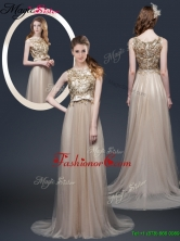 Luxurious Brush Train Prom Dresses with Appliques and Bowknot YCPD030FOR