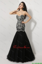 Luxurious Mermaid Sweetheart Beaded Prom Dresses in Black DBEE069FOR