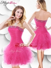 Luxurious Strapless Hot Pink Prom Dress with Beading and Ruffles SWPD006FBFOR