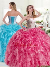 Modest Beaded and Ruffled Organza Quinceanera Dress in Hot Pink YYPJ045FOR