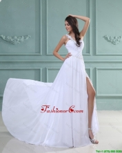 New Arrivals White Brush Train Prom Dresses with High Slit DBEE518FOR