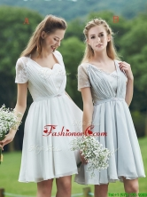 New Short Sleeves Prom Dress with Belt and Lace BMT0102FOR