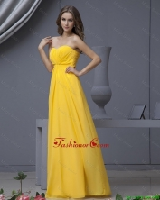 New Style Empire Ruching Yellow Long Prom Dresses DBEE540FOR