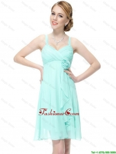 New Style Short Hand Made Flowers Prom Dresses with Straps DBEE036FOR