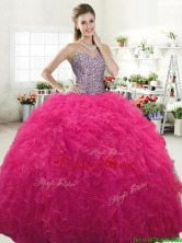 Perfect Hot Pink Tulle Sweet 16 Dress with Beading and Ruffles YYPJ064FOR
