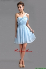 Perfect One Shoulder Ruching Short Prom Gowns for Holiday DBEE666FOR
