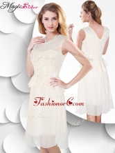Perfect Scoop Knee Length White Prom Dress with Lace SWPD005FBFOR